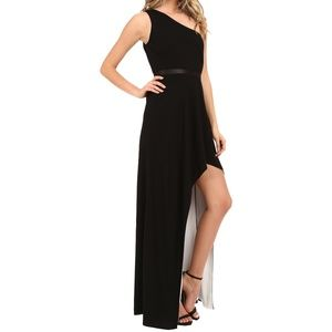 Halston Heritage Two Tone One Shoulder Gown